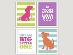 Who doesn't love puppy themed baby room decor? Charming dogs and puppies designs are perfect for a baby's bedroom. This modern #puppies print set will add a pop of color to your little one's #nursery or #playroom. INSTANT DOWNLOAD 4 JPEGS puppy love nursery by giraffesnstuff, $15.00