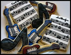 Music-themed sugar cookies decorated with royal icing