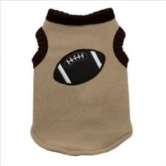 Football Dog Sweater Vest in Tan by Hip Doggie ♥ Get it at BuyDogSweaters.com