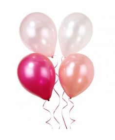 Pink n mix party balloons. Use these cute balloons to decorate your party and impress your guests. 12 x balloons in 2 sweet pink and cream colours. of pink ribbon included. Ballons Pastel, Pink Balloons, Wedding Balloons, Latex Balloons, Birthday Balloons, Hen Party Decorations, Balloon Decorations, Ballon Rose, Online Party Supplies