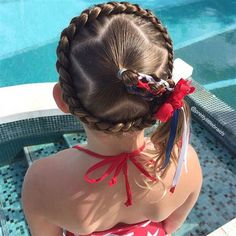 Looking for something fun & patriotic to do with your hair this of July? We've rounded up 15 cute hairstyles for the of July so come check them out! Cute Girls Hairstyles, Holiday Hairstyles, Braided Hairstyles, Hairstyles 2016, Layered Hairstyles, Braided Updo, Hairdos, Wedding Hairstyles, Girl Hair Dos