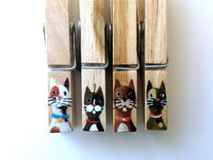 CAT CLOTHESPINS hand painted with magnets by SugarAndPaint on Etsy