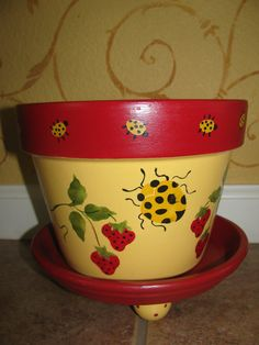 Flower Pot  Ladybug and Strawberries by bubee on Etsy, $20.00
