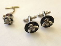 Men's Silver Bee on Black Onyx Circle Cufflinks & Matching Tie Tack Chain Clasp