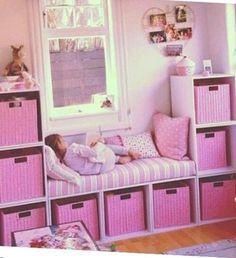 58 Genius Toy Storage Ideas & Organization Hacks for Your Kids' Room - Page 2 of 2 Can't stand toys and books everywhere in your house? Try these 34 toy storage ideas & kids room organization hacks to transform your kids' messy room. Teenage Girl Bedrooms, Little Girl Rooms, Kids Bedroom Ideas For Girls Toddler, Girl Kids Room, Cheap Playroom Ideas, Bedroom Ideas For Small Rooms For Girls, Girls Pink Bedroom Ideas, Tween Girl Bedroom Ideas, Cool Bedroom Ideas