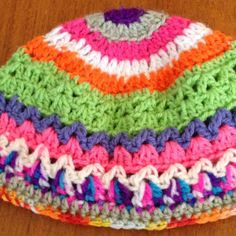 Created For You And Me: Stash-buster challenge project #10 - crochet multi-colour rainbow beanie/hat