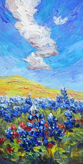 Artists Of Texas Contemporary Paintings and Art: Bluebonnet Palette Knife Painting by Niki Gulley -...