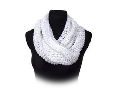 White lace mobius scarf cosy cowl by Stonevibration on Etsy