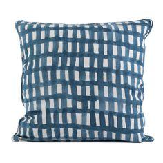 Minä Perhonen Pillow cover sora check beige blue cotton Pudebetræk Ternet beige blaa bomuld