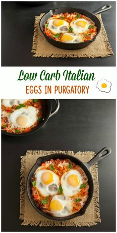 Low Carb Italian Eggs in Purgatory- Paleo, low carb and keto. Definitely going to try this without the sausage or use turkey sausage Low Carb Recipes, Real Food Recipes, Cooking Recipes, Healthy Recipes, Atkins Recipes, Free Recipes, Low Carb Breakfast, Breakfast Dishes, Italian Breakfast