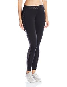 Reebok Womens Workout Ready Logo Tights Large Black Alloy S16R >>> To view further for this item, visit the image link.