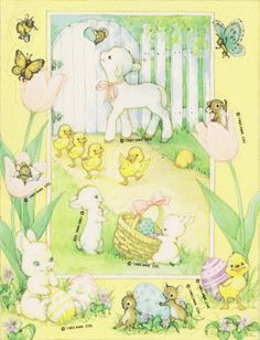 Hallmark Easter stickers with lamb, bunny, chicks, butterflies, etc