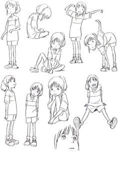 spirited away character pose sheet good reference for drawing kids - Kids Drawing Sheet
