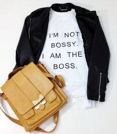 I'm Not Bossy I Am The Boss White Crewneck sweatshirt by ArmiTee Cool T Shirts, Funny Shirts, Tumblr Sayings, Oversized Pullover, Oversized Tops, Statement Tees, Crew Neck Sweatshirt, Style Me, Shirt Designs