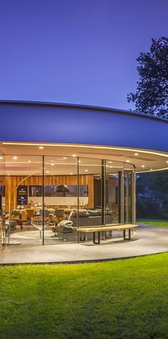 modern architecture home . beautiful contemporary , round circular ,glass