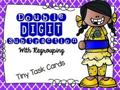 Double Digit Subtraction with regrouping tiny task cards.  These cards can be cut out and used just like normal task cards.  They can also be printed, stapled, and sent home for extra practice or used during RTI time since they are black and white and only one page.