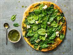 Pesto Spinat Pizza Pizza Pesto, Pizza Legume, Valeur Nutritive, Palak Paneer, Avocado Toast, Vegetable Pizza, Lunch, Vegetables, Vegetarian