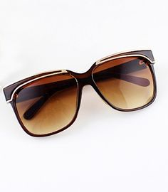 Brown Rim Yellowe Sunglasses - Sheinside.com