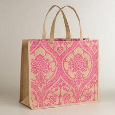 Pink Print Jute Tote Bag