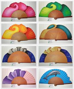 Abanicos pintados a mano por Claudia Cano Hand Held Fan, Hand Fans, Coloring Books, Coloring Pages, Hot Flashes, Victorian Fashion, Artsy, Outdoor Decor, How To Make
