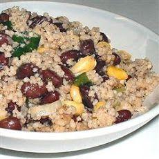 Black bean/corn/couscous salad. Sub rotel for onions. No oil.