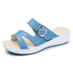 Women Casual Leather Slip On Flat Platform Sandals Flat Platform Sandals, Low Wedge Sandals, Women's Shoes Sandals, Women Sandals, Leather Gladiator Sandals, Leather Flats, Leather Slip Ons, Black And White Flip Flops, Black White