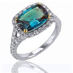 Alexandrite & Diamond ring, 2.81 ct. cushion cut Alexandrite, .96 round Brilliant Diamonds (T.W)  By: Mark Henry $82,000.00
