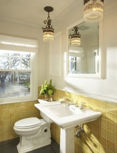 SallyL: Martha O'Hara Interiors - Sunny yellow bathroom tiles! Cream walls and traditional white ...
