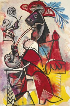 PABLO PICASSO -  MOUSQUETAIRE À LA PIPE,  Signed Picasso (upper left); dated 5.3.69 II on the reverse,  Oil on canvas, 76 7/8 x 51 1/4 in. 195x130 cm, Sotheby's, 2013.