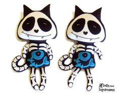 Skeleton Cat Sewing Pattern PDF Halloween Day of The Dead Softie