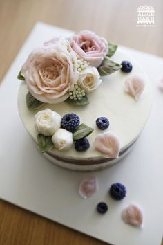 Buttercream roses and berries