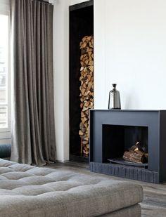 fireplace, black, wood