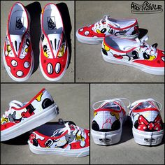 Mickey Loves Minnie Hand Painted Vans Shoes for Girls/Women Disney Painted Shoes, Painted Vans, Painted Sneakers, Disney Shoes, Hand Painted Shoes, Disney Outfits, Disney Vans, Disney Disney, Mickey Love