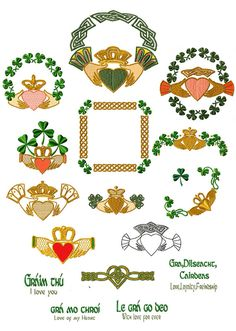 The famous Celtic Claddagh embroidery designs One of these for frame on bottom of dress? Celtic Symbols, Celtic Art, Celtic Crosses, Machine Embroidery Patterns, Embroidery Designs, Hand Embroidery, Shamrock Tattoos, Irish Design, Irish Blessing