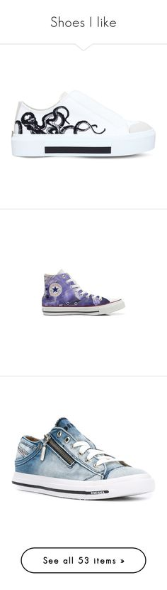 """""""Shoes I like"""" by haileyscomet95 ❤ liked on Polyvore featuring shoes, sneakers, sequin sneakers, white lace up sneakers, slip-on sneakers, white leather sneakers, white slip on sneakers, purple, trainers and women"""