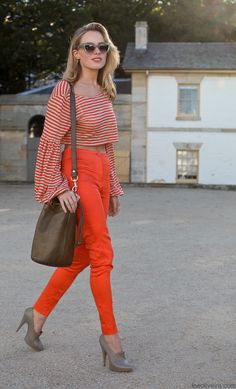 Orange & Stripes #fashion #streetstyle