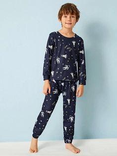 Boys Space Print PJ Set – Agodeal Pop Fashion, Fashion Outfits, Satin Pj Set, Sleepwear & Loungewear, Kids Swimwear, Pj Sets, Spandex Material, Cute Boys, Pajama Set