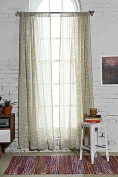Star Tile Gauze Curtain in Beige