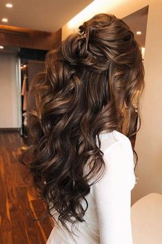 Wedding Hair Half, Long Hair Wedding Styles, Long Hair Styles, Gown Wedding, Lace Wedding, Dream Wedding, Wedding Rings, Wedding Dresses, Wedding Hairstyles For Long Hair