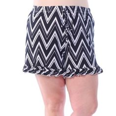 Black and White Chevron Shorts Plus Size Chevron Ruffle Shorts.  Sizes 1x-4x. Amazing stretch, super soft fabric. 96% rayon 4% spandex. NO TRADES Bellino Clothing Shorts