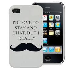 Gadget Zoo Iphone 4 4S Case  ID Love To Stay And Chat But I Really Moustache Funny Mustache Hard Back Cover From Gadget Zoo *** Check this awesome product by going to the link at the image. (Note:Amazon affiliate link)