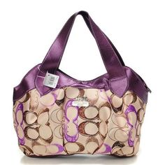 Discount Coach Legacy Logo In Signature Medium Purple Hobo BPO Clearance