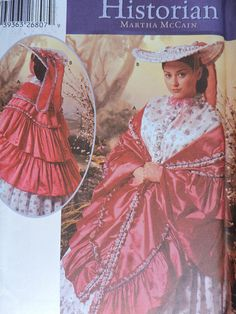 Civil War Southern Belle Mantel Shawl and Hat Historical Costume Simplicity Pattern 5444 Simplicity Patterns, Cool Patterns, Stitch Patterns, Sewing Patterns, Costume Patterns, Historical Costume, Southern Belle, One Size Fits All, Mantle