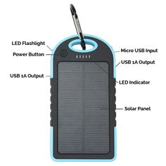 Unpluggit® Solar Cell Phone Charger - 5000mAh Waterproof, Dust-Proof Dual USB Portable Cell Phone Solar Charger for Blackberry, Mp3, Mp4, PSP, iPod, iPhone, Cam