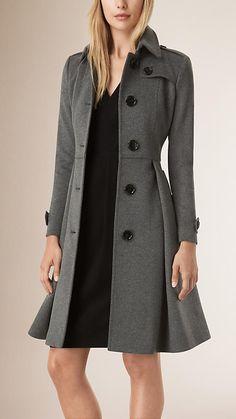 Grey melange Skirted Wool Cashmere Coat
