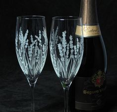 2 Personalized Champagne Glasses, Lavender Wedding Gift for Bride and Groom - The Wedding Gallery by Brad Goodell  www.BradGoodellWeddings.com