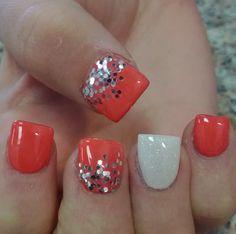 salmon acrylic nails