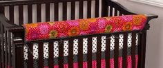 The Tula Front Rail Cover-Up in bright floral provides a perfect solution for the protection of the front crib rail. Whether the crib has bumpers or is bumperless, the rail cover protects and at the same time enhances the crib and nursery with color. Measures 51 x 15. Machine wash, delicate cycle, cold water, separate. Tumble dry low.