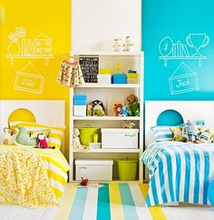 siblings shared bedroom for kids (divide colors with a neutral in the middle) love this idea! Going to use it when the girls start sharing a room so they can both keep their color scheme