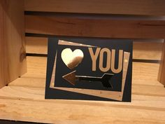 I love you arrow to the heart greeting card by MerciCadeaux on Etsy